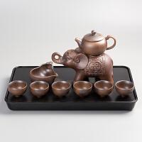 抖音变色茶盘龙老虎创意单层圆形石磨密胺塑料干泡茶台仿乌金石 虎盘密胺黑底加自动茶具 大象自动茶具