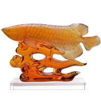 新房装饰金龙鱼摆件招财风水简约现代玄关家居饰品摆设琉璃工艺品