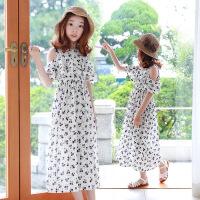 夏装韩版女童裙子连衣裙波西米亚露肩儿童沙滩裙度假长裙