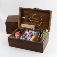 针线盒套装针线包家用缝纫线针线收纳盒十字绣工具实木针线盒