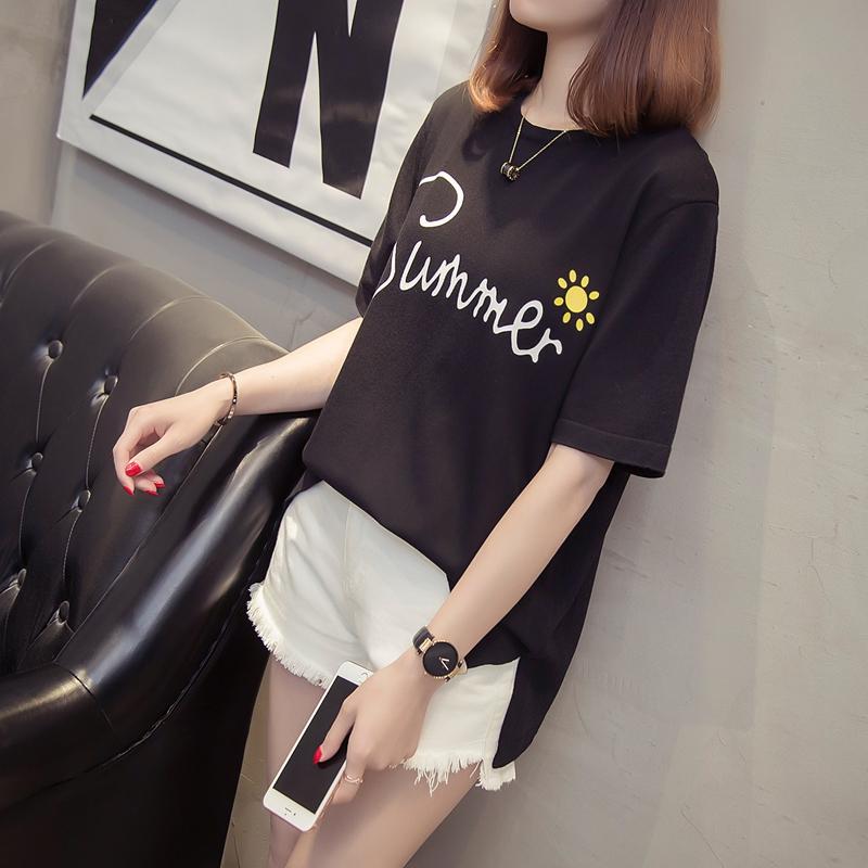 2018新款夏装刺绣t恤女短袖打底衫上衣服修身体T桖小衫韩版学生潮