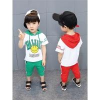 男童夏装新款套装连帽韩版运动夏季童装儿童短袖棉两件套潮