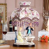 欧式摆件客厅家居装饰工艺品陶瓷人物弹钢琴摆设创意礼品 情侣合奏 台灯153A1