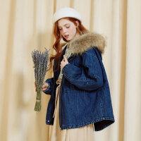 【全场2件2.5折,到手价:174.8】美特斯邦威棉服女大毛领仿羊羔绒牛仔夹克气质短外套2018冬装新款
