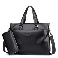 男士手提包商务出差公文包单肩斜跨包休闲男包包皮包