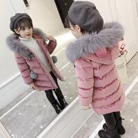 童装女童棉衣2018新款金丝绒洋气冬装中长款棉袄外套儿童加厚