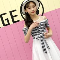 女童连衣裙夏中大童装新款洋气露肩裙子韩版修身公主裙儿童长纱裙