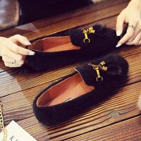 毛毛鞋女冬外穿平底单鞋2018新款女鞋秋季韩版百搭网红加绒豆豆鞋 黑色 单里