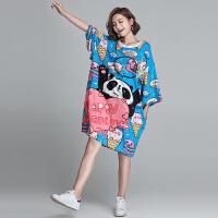 欧美特大码肥婆女装卡通熊猫印花中长款200斤超显瘦减龄T恤连衣裙