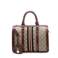 女包新款斜跨包欧美包手提单肩斜挎包百搭时尚休闲包 咖啡杏+咖啡条