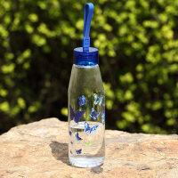 爱屋格林创意玻璃杯透明便携水杯随手杯耐热硅胶拎绳花茶杯