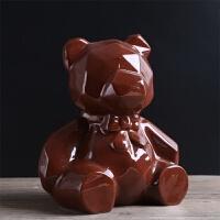 北欧现代简约几何小熊摆件酒柜客厅软装饰品创意家居摆设