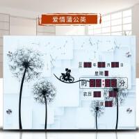 家居生活用品万年历时尚客厅挂钟创意电子钟静音夜光温度时钟 18英寸(直径45.5厘米)