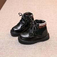 时尚男女小童中筒靴2018冬款防滑雪地靴1-3岁宝宝加棉保暖鞋 黑色
