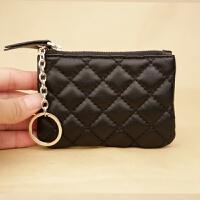 韩版拉链迷你软皮小零钱包男女士羊皮薄款零钱袋硬币包时尚钥匙包 黑色 小号