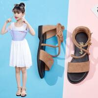 女童凉鞋学生露趾沙滩鞋平底鞋儿童夏季公主鞋
