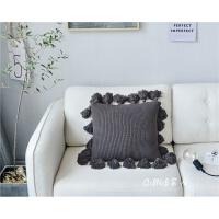 北欧流苏针织抱枕纯色沙发靠垫套公主卧室软包简约家居创意枕含芯 深空灰 流苏枕