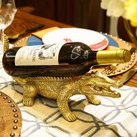 铜鳄鱼红酒架餐桌酒柜装饰品摆件美式中式欧式样板间家居饰品摆设创意家居酒架摆件 铜鳄鱼酒架