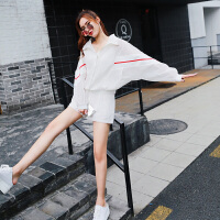 套装女春2018新款白色条纹防晒衣女外套阔腿裤短裤运动时尚两件套 白色 均码