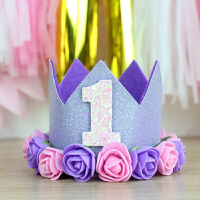 周岁皇冠宝宝生日帽发日派对布置装饰 用品帽派对用品装饰闪亮花朵皇冠帽子