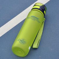塑料水杯便携大容量健身户外运动水壶男女学生太空杯子 1000ml防尘盖新款果绿 3038T