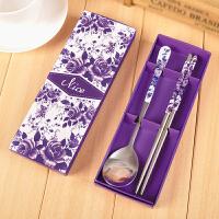 结婚回礼小礼品 小礼物不锈钢餐具套装 紫玫瑰勺筷