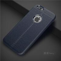 苹果6splus手机壳6plus套iphone6超薄6s全包6p潮男防摔六软i6新款 苹果6 皮纹藏青(送钢化膜)