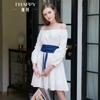 海贝2018秋装有女人味的连衣裙纯棉一字肩长袖灯笼袖腰封白色短裙