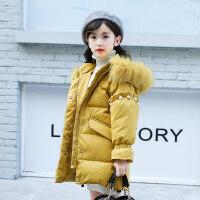 女童棉衣2018新款韩版大儿童冬装中长款女孩冬季洋气棉袄外套