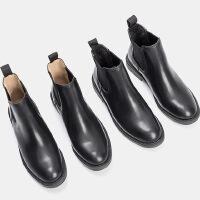 乌龟先森 切尔西靴 女秋冬季ins超火明星同款纯色百搭短靴平底马丁靴英伦风及踝靴粗跟靴子冬