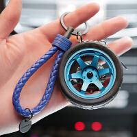 创意改装汽车轮胎钥匙扣个性金属不锈钢轮毂钥匙链挂件男士新款