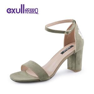 依思q夏季新款优雅后包跟刺绣女鞋百搭细跟高跟凉鞋