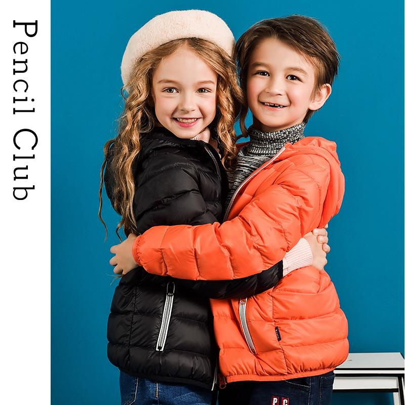 【3折到手价:119.7】铅笔俱乐部童装儿童羽绒服2019冬装新款男童女童连帽轻薄羽绒外套