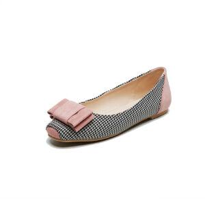 ELEISE美国艾蕾莎新品106-1193韩版混合材质平跟舒适女士单鞋