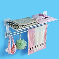 卫生间挂毛巾架浴室挂架洗澡晾浴巾放衣服的架子免打孔脸帕置物架