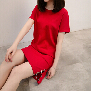 2018夏季新款韩版宽松T恤女圆领套头中长款冰丝短袖薄款针织衫女