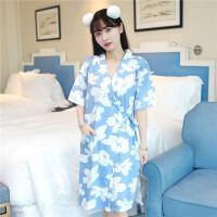 日系睡衣女夏短袖纯棉樱花日式睡裙和服公主浴衣系带甜美可爱汗蒸74 均码 80-0斤