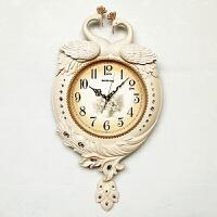 客厅大挂钟挂钟孔雀创意钟表石英钟机芯简约现代时钟挂钟 20英寸