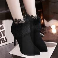 2018冬新款女鞋兔毛黑色性感蕾丝加绒面尖头高跟鞋细跟短靴女靴子SN1682 黑加绒 内里加绒 33 标准码子