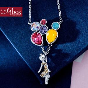 新年礼物Mbox项链 女韩国版原创采用施华洛世奇元素水晶锁骨项链 告白气球