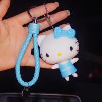 创意卡通凯蒂猫钥匙扣KT猫相机钥匙链女士包包挂件可爱生日小礼物 孔雀蓝 搪胶蓝kt天蓝绳