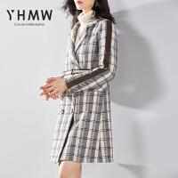 YHMW格子毛呢外套女中长款2018冬装新款双排扣呢子大衣