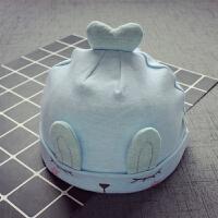新生儿0-3-10个月帽子胎帽耳朵婴儿帽韩版男女宝宝套头帽 均码