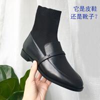 袜子鞋女皮鞋连袜靴袜子鞋拼接加绒靴子女2018新款平底短靴英伦风网红鞋 TBP