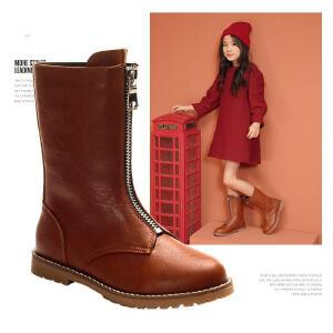 儿童靴子时尚机车风高筒靴2018秋冬新款前拉链简约防滑女童马丁靴