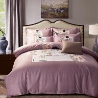 四件套全棉纯棉加厚床单被套家纺简约1.8m床床上四件套