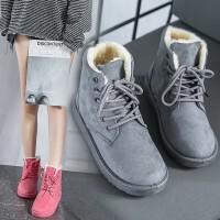 女式 秋冬新款加绒加厚雪地靴棉鞋短靴平跟学生短筒系带休闲女靴