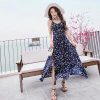 2018海边度假裙巴厘岛海滩裙夏季女雪纺吊带连衣裙波西米亚长裙 图片色