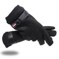 手套男冬季保暖加绒加厚麂皮绒手套户外运动骑车电动车触屏棉手套 均码