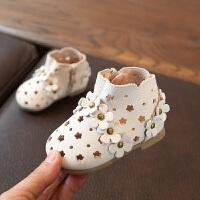 拥抱熊2018年春夏款女童公主鞋 花朵镂空洞洞女宝宝单靴软底婴儿皮靴